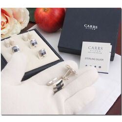 Zilveren manchetknopen met drukkers onyx en parelmoer van Carrs