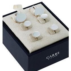 Zilveren manchetknopen met overhemddrukkers van Carrs