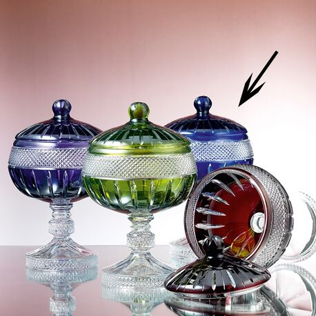 Faberge Kristallen Coupe Op Voet koningsblauw