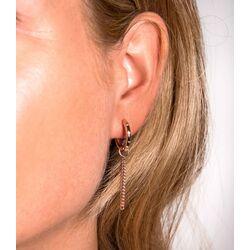 Zilveren oorbedels rosé verguld gourmet ketting 30mm ZICH1694R
