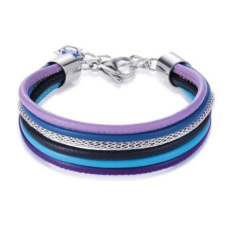 Coeur de Lion leren armband met kleuren blauw paars zwart 0120-30-0708