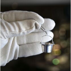 Zilveren miniatuur tuitzeef kinderserviesje