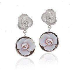 Diluca zilveren oorstekers roos camee