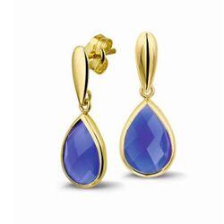 Geelgouden oorhangers blauw chalcedoon