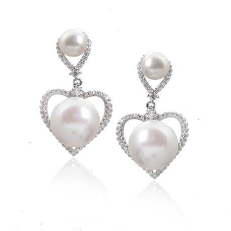 Zilveren hart oorstekers zirkonia parel