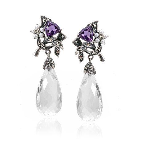 Zilveren oorhangers amethist wit kristal