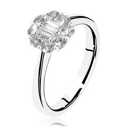 Witgouden ring met diamant baguette en briljant bloem