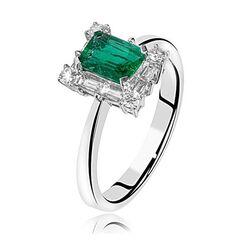 witgouden ring met smaragd en diamant Old Memories Collectie