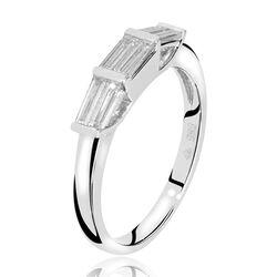 Witgouden ring 6 baguette geslepen diamanten