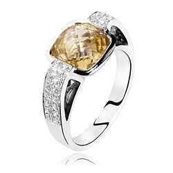 Witgouden Ring Citrien Diamant