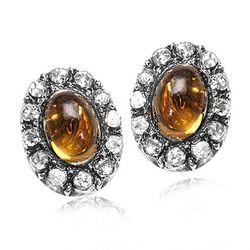 Gouden oorstekers citrien roosdiamant