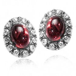 witgouden oorbellen granaat roosdiamant