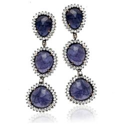 Oorbellen diamant amethist en tanzaniet