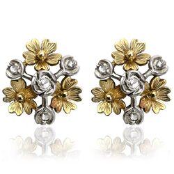 Gouden oorschroeven bloemen diamant