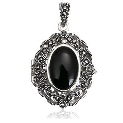 Hanger medalion markasiet zwart agaat