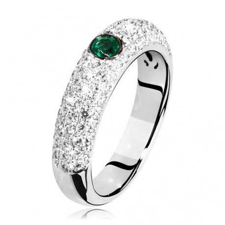witgouden ring met smaragd en briljantjes