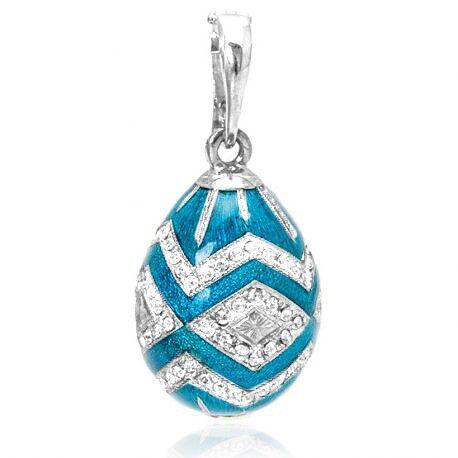 Fabergé ei hanger turkoois emaille zirkoon 01498tbs