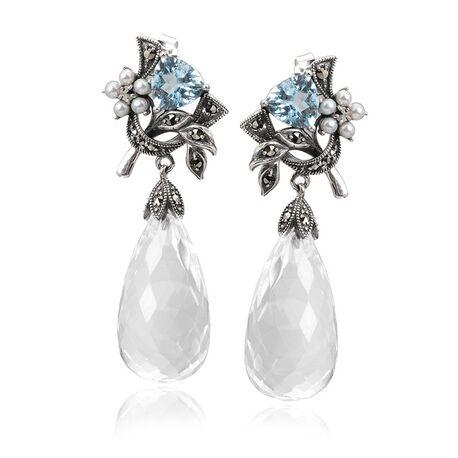 Zilveren oorhangers kristal topaas