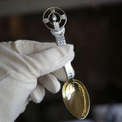 Kerstmislepel 1936 verguld zilver Michelsen