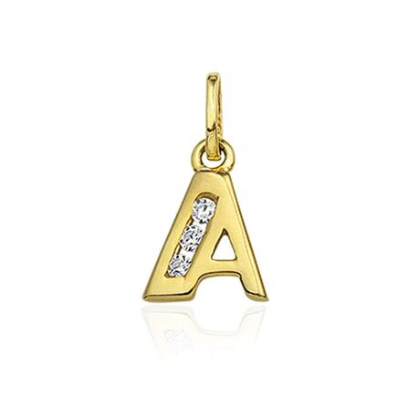 Gouden letter met zirkonia A-Z