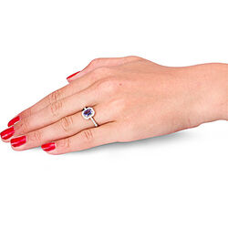 Witgouden ring met tanzaniet en briljanten