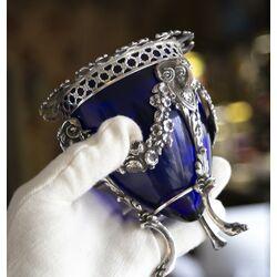 Suikervaas zilver met blauw glas