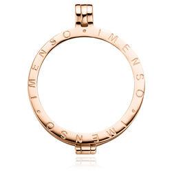 Rosé medaillon en ketting 60 cm met  goudsteen 33mm