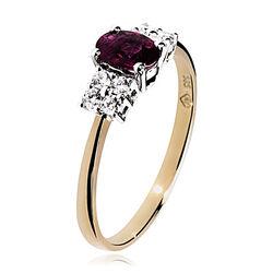 Geelgouden ring met robijn en briljanten