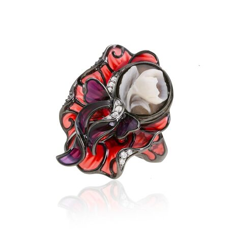 Cameo Italiano ring rood vensteremaille