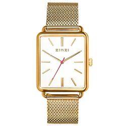 Zinzi Vintage verguld retro horloge witte wijzerplaat