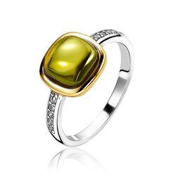 Zinzi zilveren ring groen bicolor zir1718