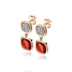 Zinzi rosé oorstekers rood zirkonia