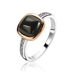 Zinzi bicolor ring zwart zirkonia