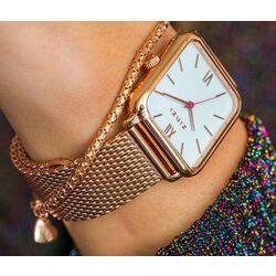 Zinzi Vintage rosé retro horloge witte wijzerplaat