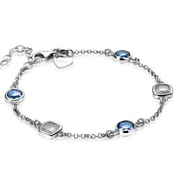 Zinzi armband blauw grijs vierkant rond ZIA1726