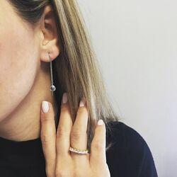 Julie Sandlau doortrek oorbellen grijs kristal