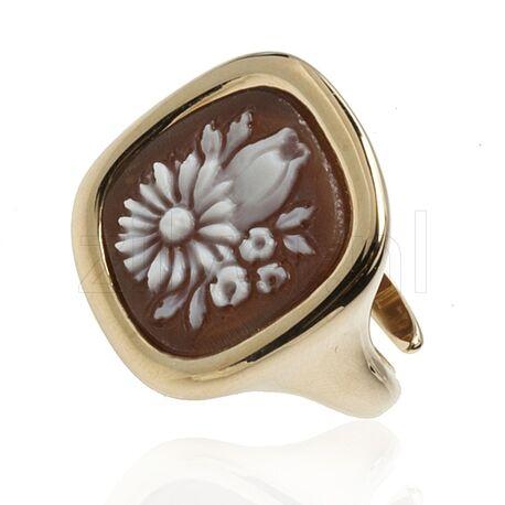 Diluca verguld zilveren ring schelpcamee bloemen