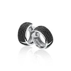 Zinzi zilveren creolen zwart zirkonia ZIO506Z