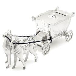 Verzilverde spaarpot koets met paarden