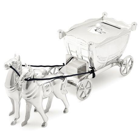 Spaarpot koets met paarden verzilverd 8135261