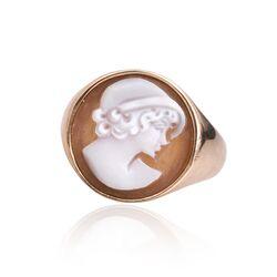 Diluca rosé verguld zilveren ring camee vrouw