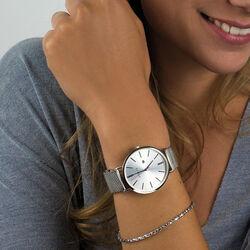 Zinzi stalen Retro horloge met mesh band en denim leren band