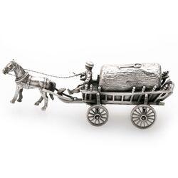Miniatuur zilveren hooiwagen met paard