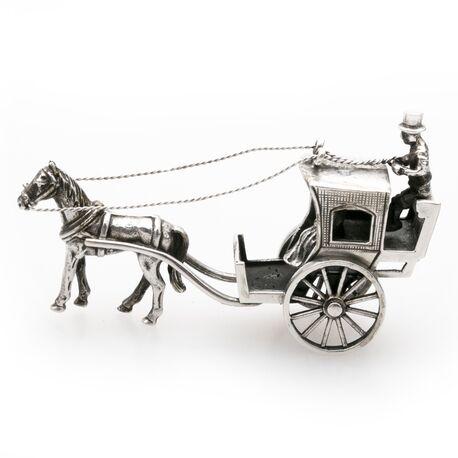 miniatuur zilveren koets met koetsier van Begeer bij Zilver.nl