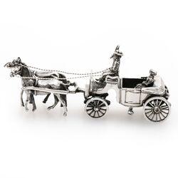 Miniatuur zilveren open koets