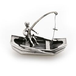 Zilveren roeiboot visser met hengel miniatuur