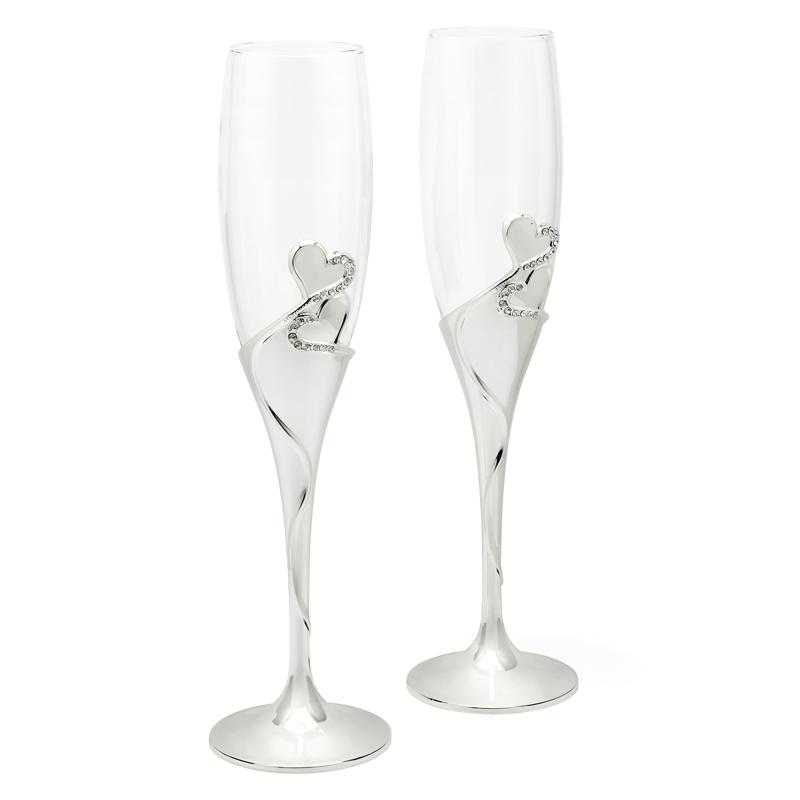 Verbazingwekkend Verzilverde champagneglazen heart - Direct graveerbaar - Zilver.nl QL-38