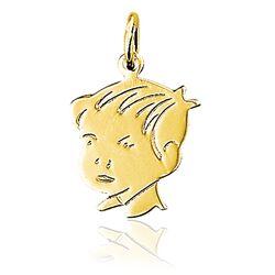 Gouden geboortehanger kinderkopje jongen