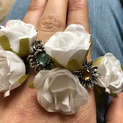 Zilveren ring Orchidee blauw zirkonia Raspini