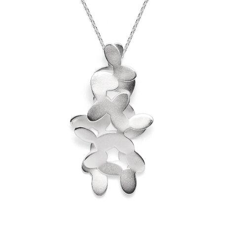 Bastian Inverun zilveren hanger Floral jasmijn blaadjes met ketting